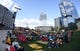 Apr 27, 2018; Nashville, TN, USA; Fans begin to gather in hall of fame park for the viewing party of game one of the second round of the 2018 Stanley Cup Playoffs between the Nashville Predators and Winnipeg Jets at Bridgestone Arena. Mandatory Credit: Christopher Hanewinckel-USA TODAY Sports