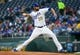 Apr 13, 2018; Kansas City, MO, USA; Kansas City Royals starting pitcher Jason Hammel (39) pitches against the Los Angeles Angels in the ninth inning at Kauffman Stadium. Mandatory Credit: Jay Biggerstaff-USA TODAY Sports