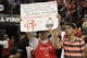 May 14, 2018; Houston, TX, USA; A fan holds up a sign regarding Houston Rockets guard James Harden (not pictured) before game one of the Western conference finals of the 2018 NBA Playoffs against the Golden State Warriors at Toyota Center. Mandatory Credit: Erik Williams-USA TODAY Sports