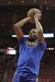 May 14, 2018; Houston, TX, USA; Golden State Warriors forward Kevin Durant (35) warms up before game one of the Western conference finals of the 2018 NBA Playoffs against the Houston Rockets at Toyota Center. Mandatory Credit: Erik Williams-USA TODAY Sports