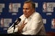 May 14, 2018; Houston, TX, USA; Houston Rockets head coach Mike D'Antoni answers questions during a press conference before game one of the Western conference finals of the 2018 NBA Playoffs against the Golden State Warriors at Toyota Center. Mandatory Credit: Troy Taormina-USA TODAY Sports