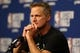 May 14, 2018; Houston, TX, USA; Golden State Warriors head coach Steve Kerr answers questions during a press conference before game one of the Western conference finals of the 2018 NBA Playoffs against the Houston Rockets at Toyota Center. Mandatory Credit: Troy Taormina-USA TODAY Sports
