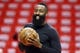 May 14, 2018; Houston, TX, USA; Houston Rockets guard James Harden (13) warms up before game one of the Western conference finals of the 2018 NBA Playoffs against the Golden State Warriors at Toyota Center. Mandatory Credit: Troy Taormina-USA TODAY Sports