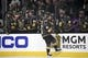 May 16, 2018; Las Vegas, NV, USA; Vegas Golden Knights center Jonathan Marchessault (81) celebrates a goal with his team during the first period in game three of the Western Conference Final of the 2018 Stanley Cup Playoffs against the Winnipeg Jets at T-Mobile Arena. Mandatory Credit: Kirby Lee-USA TODAY Sports