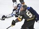 May 16, 2018; Las Vegas, NV, USA; Winnipeg Jets right wing Joel Armia (40) attempts a shot defended by Vegas Golden Knights left wing Erik Haula (56) during the first period in game three of the Western Conference Final of the 2018 Stanley Cup Playoffs at T-Mobile Arena. Mandatory Credit: Stephen R. Sylvanie-USA TODAY Sports