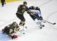 May 16, 2018; Las Vegas, NV, USA; Vegas Golden Knights goalie Marc-Andre Fleury (29) makes a save in front of  center Cody Eakin (21) and Winnipeg Jets center Adam Lowry (17) during the first period in game three of the Western Conference Final of the 2018 Stanley Cup Playoffs at T-Mobile Arena. Mandatory Credit: Stephen R. Sylvanie-USA TODAY Sports