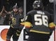 May 16, 2018; Las Vegas, NV, USA; Vegas Golden Knights right wing Alex Tuch (89) celebrates with left wing Erik Haula (56) after scoring a goal against the Winnipeg Jets in game three of the Western Conference Final of the 2018 Stanley Cup Playoffs at T-Mobile Arena. Mandatory Credit: Stephen R. Sylvanie-USA TODAY Sports