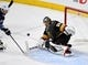May 16, 2018; Las Vegas, NV, USA; Vegas Golden Knights goaltender Marc-Andre Fleury (29) makes a save off a shot by Winnipeg Jets center Mark Scheifele (55)  in the second period of game three of the Western Conference Final of the 2018 Stanley Cup Playoffs at T-Mobile Arena. Mandatory Credit: Kirby Lee-USA TODAY Sports