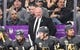 May 16, 2018; Las Vegas, NV, USA; Vegas Golden Knights coach Gerard Gallant reacts  in the first period of game three of the Western Conference Final of the 2018 Stanley Cup Playoffs against the Winnipeg Jets at T-Mobile Arena. Mandatory Credit: Kirby Lee-USA TODAY Sports