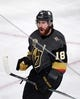 May 16, 2018; Las Vegas, NV, USA; Vegas Golden Knights left wing James Neal (18) celebrates after a goal against the Winnipeg Jets in the second period of game three of the Western Conference Final of the 2018 Stanley Cup Playoffs at T-Mobile Arena. Mandatory Credit: Kirby Lee-USA TODAY Sports