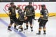 May 16, 2018; Las Vegas, NV, USA; Vegas Golden Knights center Jonathan Marchessault (81) celebrates with left wing James Neal (18), defenseman Nate Schmidt (88), and defenseman Brayden McNabb (3) after scoring a first period goal against the Winnipeg Jets in game three of the Western Conference Final of the 2018 Stanley Cup Playoffs at T-Mobile Arena. Mandatory Credit: Stephen R. Sylvanie-USA TODAY Sports
