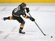 May 16, 2018; Las Vegas, NV, USA; Vegas Golden Knights defenseman Colin Miller (6) clears the puck during the first period against the Winnipeg Jets in game three of the Western Conference Final of the 2018 Stanley Cup Playoffs at T-Mobile Arena. Mandatory Credit: Stephen R. Sylvanie-USA TODAY Sports
