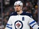 May 16, 2018; Las Vegas, NV, USA; Winnipeg Jets center Mark Scheifele (55) is pictured during the second period against the Vegas Golden Knights in game three of the Western Conference Final of the 2018 Stanley Cup Playoffs at T-Mobile Arena. Mandatory Credit: Stephen R. Sylvanie-USA TODAY Sports