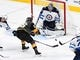May 16, 2018; Las Vegas, NV, USA; Winnipeg Jets goaltender Connor Hellebuyck (37) makes a first period save against Vegas Golden Knights left wing Erik Haula (56) during game three of the Western Conference Final of the 2018 Stanley Cup Playoffs at T-Mobile Arena. Mandatory Credit: Stephen R. Sylvanie-USA TODAY Sports