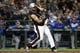 Jun 30, 2018; Seattle, WA, USA; Seattle Mariners designated hitter Nelson Cruz (23) hits a single against the Kansas City Royals during the fourth inning at Safeco Field. Mandatory Credit: Joe Nicholson-USA TODAY Sports