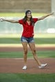 Jul 10, 2018; Minneapolis, MN, USA; From TV's the Bachelorette, Becca Kufrin prepares to throw out a ceremonial pitch before the game between the Kansas City Royals and the Minnesota Twins at Target Field. Mandatory Credit: Bruce Kluckhohn-USA TODAY Sports