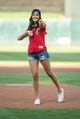 Jul 10, 2018; Minneapolis, MN, USA; TV personality Becca Kufrin prepares to throw out a ceremonial pitch before the game between the Kansas City Royals and the Minnesota Twins at Target Field. Mandatory Credit: Bruce Kluckhohn-USA TODAY Sports