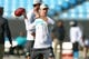 Aug 17, 2018; Charlotte, NC, USA; Miami Dolphins quarterback Ryan Tannehill (17) warms up prior to the game against the Carolina Panthers at Bank of America Stadium. Mandatory Credit: Jeremy Brevard-USA TODAY Sports