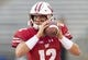 Aug 31, 2018; Madison, WI, USA; Wisconsin Badgers quarterback Alex Hornibrook (12) during warm ups prior to the game against the Western Kentucky Hilltoppers at Camp Randall Stadium. Mandatory Credit: Jeff Hanisch-USA TODAY Sports