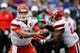 Sep 1, 2018; Colorado Springs, CO, USA; Stony Brook Seawolves quarterback Joe Carbone (10) hands the ball off to running back Jordan Gowins (23) in the first quarter against the Air Force Falcons at Falcon Stadium. Mandatory Credit: Isaiah J. Downing-USA TODAY Sports
