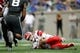 Sep 1, 2018; Colorado Springs, CO, USA; Stony Brook Seawolves quarterback Joe Carbone (10) recovers a fumble under pressure from Air Force Falcons linebacker Lakota Wills (8) in the first quarter at Falcon Stadium. Mandatory Credit: Isaiah J. Downing-USA TODAY Sports