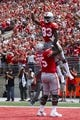 Sep 1, 2018; Columbus, OH, USA; Ohio State Buckeyes wide receiver Terry McLaurin (83) and Ohio State Buckeyes offensive lineman Thayer Munford (75) celebrate after scoring a touchdown at Ohio Stadium against the Oregon State Beavers. Mandatory Credit: Rick Osentoski-USA TODAY Sports