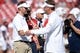 Sep 1, 2018; Norman, OK, USA; Oklahoma Sooners head coach Lincoln Riley and Florida Atlantic Owls head coach Lane Kiffin shake hands prior to action at Gaylord Family - Oklahoma Memorial Stadium. Mandatory Credit: Mark D. Smith-USA TODAY Sports