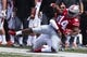Sep 1, 2018; Columbus, OH, USA; Ohio State Buckeyes wide receiver K.J. Hill (14) is tackled out of bounds during the first half against the Oregon State Beavers at Ohio Stadium. Mandatory Credit: Rick Osentoski-USA TODAY Sports