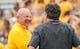 Sep 1, 2018; Laramie, WY, USA; Wyoming Cowboys head coach Craig Bohl and Washington State Cougars head coach  Mike Leach before game at Jonah Field War Memorial Stadium. Mandatory Credit: Troy Babbitt-USA TODAY Sports