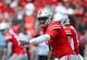 Sep 1, 2018; Columbus, OH, USA; Ohio State Buckeyes quarterback Dwayne Haskins (7) calls out signals during the first quarter against the Oregon State Beavers at Ohio Stadium. Mandatory Credit: Joe Maiorana-USA TODAY Sports