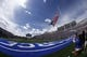 Sep 1, 2018; Colorado Springs, CO, USA; A member of the United States Air Force Academy Wings of Blue team parachutes with the American Flag before the game against the Stony Brook Seawolves at Falcon Stadium. Mandatory Credit: Isaiah J. Downing-USA TODAY Sports