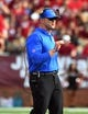 Sep 1, 2018; Troy, AL, USA; Boise State Broncos head coach Bryan Harsin during the first half against the Troy Trojans at Veterans Memorial Stadium. Mandatory Credit: Christopher Hanewinckel-USA TODAY Sports