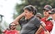Sep 1, 2018; Laramie, WY, USA; Washington State Cougars head coach Mike Leach reacts against the Wyoming Cowboys during the second quarter at Jonah Field War Memorial Stadium. Mandatory Credit: Troy Babbitt-USA TODAY Sports