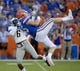 Sep 1, 2018; Gainesville, FL, USA; Florida Gators linebacker R.J. Raymond (45) cannot maintain possession of the ball against Charleston Southern Buccaneers defensive back Shadarius Hopkins (6) during the first quarter at Ben Hill Griffin Stadium. Mandatory Credit: Glenn Beil-USA TODAY Sports