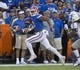 Sep 1, 2018; Gainesville, FL, USA; Florida Gators wide receiver Trevon Grimes (8) scores a touchdown against Charleston Southern during the first quarter at Ben Hill Griffin Stadium. Mandatory Credit: Glenn Beil-USA TODAY Sports