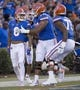 Sep 1, 2018; Gainesville, FL, USA; Florida Gators wide receiver Trevon Grimes (8) celebrates with teammates after scoring a touchdown against Charleston Southern during the first quarter at Ben Hill Griffin Stadium. Mandatory Credit: Glenn Beil-USA TODAY Sports