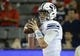 Sep 1, 2018; Tucson, AZ, USA; Brigham Young Cougars quarterback Tanner Mangum (12) warms up before playing the Arizona Wildcats at Arizona Stadium. Mandatory Credit: Casey Sapio-USA TODAY Sports