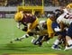Sep 1, 2018; Tempe, AZ, USA; Arizona State Sun Devils running back Eno Benjamin (3) runs for a touchdown against the UTSA Roadrunners during the first half at Sun Devil Stadium. Mandatory Credit: Joe Camporeale-USA TODAY Sports
