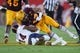 Sep 1, 2018; Tempe, AZ, USA; Arizona State Sun Devils safety Jalen Harvey (43) targets UTSA Roadrunners quarterback Cordale Grundy (14) during the first half at Sun Devil Stadium. Harvey was penalized and ejected from the game. Mandatory Credit: Joe Camporeale-USA TODAY Sports