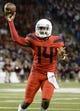 Sep 1, 2018; Tucson, AZ, USA; Arizona Wildcats quarterback Khalil Tate (14) passes the ball against the Brigham Young Cougars during the first half at Arizona Stadium. Mandatory Credit: Casey Sapio-USA TODAY Sports