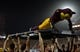 Sep 1, 2018; Tempe, AZ, USA; Arizona State Sun Devils mascot Sparky performs pushups during the first half against the UTSA Roadrunners at Sun Devil Stadium. Mandatory Credit: Joe Camporeale-USA TODAY Sports