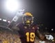 Sep 1, 2018; Tempe, AZ, USA; Arizona State Sun Devils wide receiver Terrell Chatman (19) celebrates after making a touchdown catch against the UTSA Roadrunners during the first half at Sun Devil Stadium. Mandatory Credit: Joe Camporeale-USA TODAY Sports