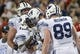Sep 1, 2018; Tucson, AZ, USA; Brigham Young Cougars running back Squally Canada (22) and tight end Matt Bushman (89) celebrate after a touchdown against the Arizona Wildcats during the second half at Arizona Stadium. Mandatory Credit: Casey Sapio-USA TODAY Sports