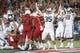 Sep 1, 2018; Tucson, AZ, USA; Brigham Young Cougars running back Brayden El-Bakri (35) signals a touchdown against the Arizona Wildcats during the second half at Arizona Stadium. Mandatory Credit: Casey Sapio-USA TODAY Sports
