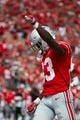 Sep 1, 2018; Columbus, OH, USA; Ohio State Buckeyes wide receiver Terry McLaurin (83) celebrates a reception against the Oregon State Beavers in the first half at Ohio Stadium. Mandatory Credit: Rick Osentoski-USA TODAY Sports.