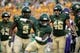 Sep 1, 2018; Waco, TX, USA; Baylor Bears safety Verkedric Vaughns (1) and defensive tackle Ira Lewis (9) and long snapper Ross Matiscik (46) in action during the game against the Abilene Christian Wildcats at McLane Stadium. Mandatory Credit: Jerome Miron-USA TODAY Sports