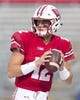 Sep 8, 2018; Madison, WI, USA; Wisconsin Badgers quarterback Alex Hornibrook (12) warms up prior to a game against the New Mexico Lobos at Camp Randall Stadium. Mandatory Credit: Jeff Hanisch-USA TODAY Sports