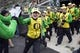 Sep 8, 2018; Eugene, OR, USA; Members of the Oregon Ducks marching band take the field before the start of a game between the Oregon Ducks and Portland State Vikings at Autzen Stadium. Mandatory Credit: Troy Wayrynen-USA TODAY Sports