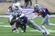 Sep 8, 2018; Manhattan, KS, USA; Mississippi State Bulldogs running back Nick Gibson (21) is tackled by Kansas State Wildcats defensive backs Kendall Adams (21) and Denzel Goolsby (20) during the fourth quarter at Bill Snyder Family Stadium. The Bulldogs won 31-10. Mandatory Credit: Scott Sewell-USA TODAY Sports