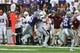 Sep 8, 2018; Manhattan, KS, USA; Mississippi State Bulldogs quarterback Nick Fitzgerald (7) is pushed out of bounds by Kansas State Wildcats defensive end Reggie Walker (51) during the fourth quarter at Bill Snyder Family Stadium. The Bulldogs won 31-10. Mandatory Credit: Scott Sewell-USA TODAY Sports
